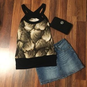 Tops - Small glitter tank brown and black